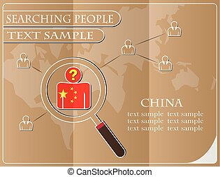 icon in search of people made from the flag of China, vector illustration
