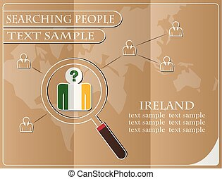 icon in search of people made from the flag of Ireland, vector illustration