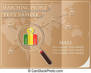 icon in search of people made from the flag of Mali, vector illustration