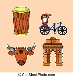icon indian culture traditional cartoon