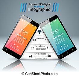 icon., infographic., 3d, smartphone