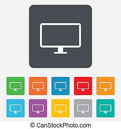 icon., informatique, widescreen, moniteur, signe