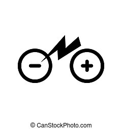Icon isolated city electric bike. Trekking e-bike symbol line silhouette with electricity flash lighting thunderbolt sign. Designation of Parking Charge the battery. Eps10