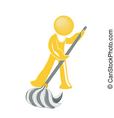 icon janitor mopping