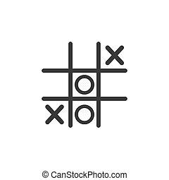 icon., juego, vector, ilustración, dedo del pie, tic, tac