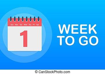 icon., kalender, en, vecka, offer., gå, illustration., vektor, block