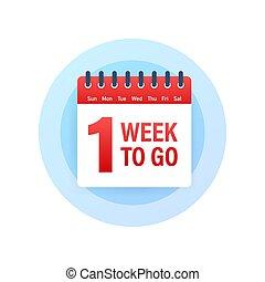 icon., kalender, en, vecka, offer., gå, illustration., vektor