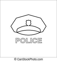 icon., kappe, polizei, grobdarstellung, serviceman