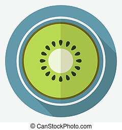 Icon kiwi on white circle with a long shadow