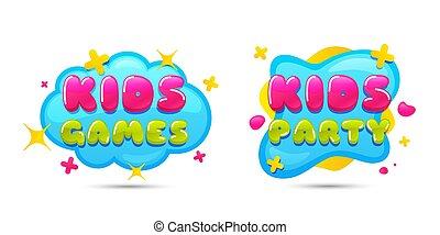 icon., klubba, spel, vektor, lurar, underhållning, pratstund, unge, zon, badges., bubble., parti, leka