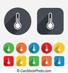 icon., lázmérő, hőmérséklet, jelkép., aláír