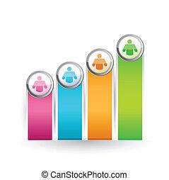 icon lead color graph illustration design over a white ...