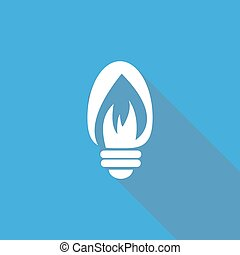 Icon Light bulb with a long shadow