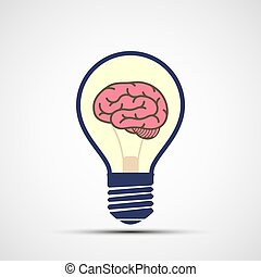 Icon light bulb with human brain inside. Vector logo.