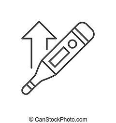 icon., ligne, apparenté, élevé, thermomètre, électronique, température, vecteur, mince