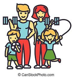 icon., linha plana, vetorial, malhação, linear, concept., família, editable, isolado, ilustração, exercícios, ginásio, pais, stroke., fundo, ativo, branca, desporto, crianças, feliz