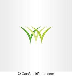 icon logo green grass vector symbol