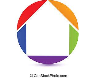 icon-logo, woning, kleurrijke
