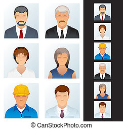 icon., ludzie, różny, avatars, okupacje