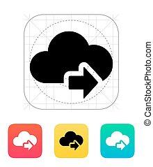 icon., luego, nube, flecha, informática
