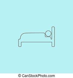 icon., mänsklig, underteckna, säng
