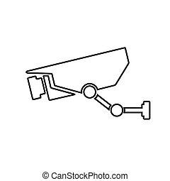 icon., macchina fotografica, contorno, sorveglianza