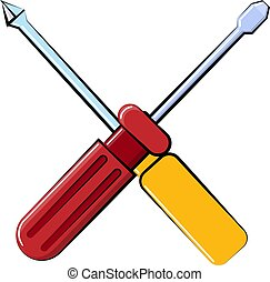 Icon made of metal construction plastic red and yellow flat and cross screwdrivers for repair, a crossed tool on a white background. Vector illustration