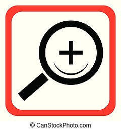 Icon magnifier on white background. Vector illustration.