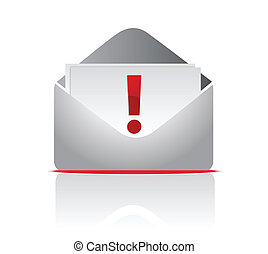 icon mail envelope with exclamation sign over a white background