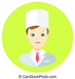 Icon man doctor in a flat style. Vector image on a round colored background. Element of design, interface. Image in the cartoon style