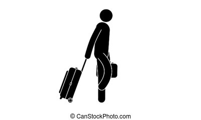 Icon man goes with luggage. Pictogram passenger with a...