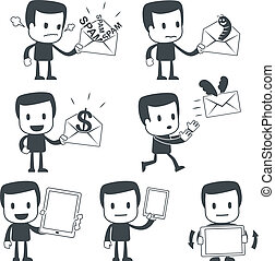 Icon man - Vector illustration of a simple cute characters...