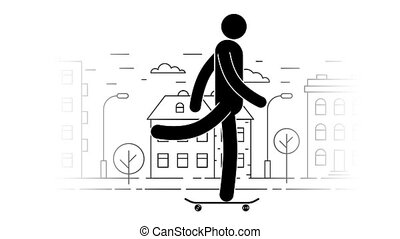 Icon man rides a skateboard on the urban cityscape background