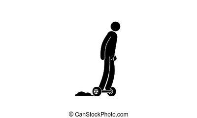 Icon man riding a hoverboard and crashes into a pillar....