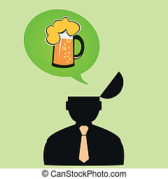 Icon man thinks about beer on Friday