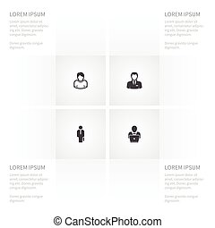 Icon Manager Set Of Notebook, Boy, Businessman And Other Vector Objects. Also Includes Officiant, Portfolio, Human Elements.