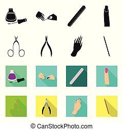 icon., manucure, vecteur, maquillage, illustration, ensemble, stockage, produits de beauté, symbole, web.