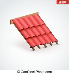 Icon Metal Cover on Roof - Icon demonstration red ceramic...