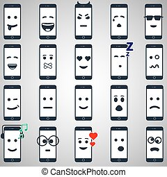 Icon mobile smartphone collection iphon style mockups with smiling faces isolated. Vector illustration and web element.
