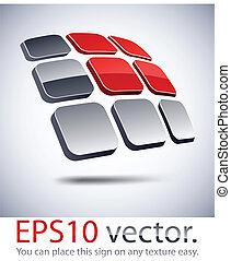 icon., moderno, solar, logotipo, batería, 3d