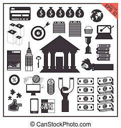 icon money business vector set Transfer computer bank map world