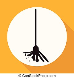 Icon mop the floor on white circle with a long shadow