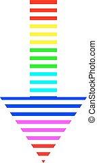Icon multicolored down arrow