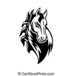 icon., mustang, albo, capstrzyk, maskotka, zwierzę, koń