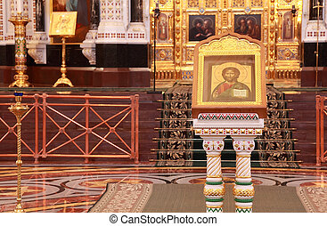 Icon near Altar inside Cathedral of Christ the Saviour in Moscow, Russia