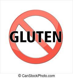 icon., nein, gluten, frei, zeichen