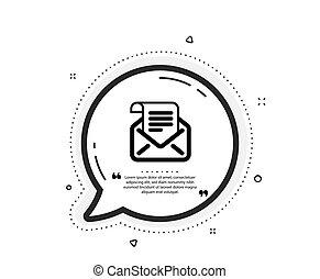 icon., newsletter, pošta, poselství, korespondence, číst, podpis., vektor