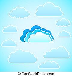 icon., nuage, vecteur, illustration