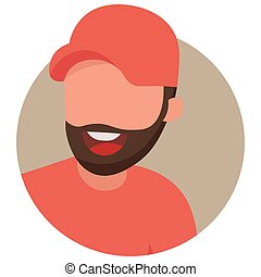 Icon of a bearded man on a white background. Vector illustration
