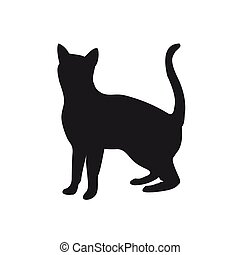 Icon of a black cat on a white background.